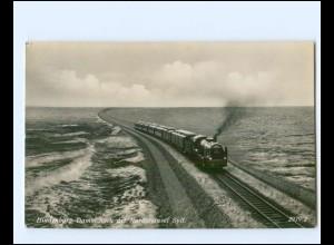 XX14327/ Hindenburgdamm Sylt Eisenbahn Foto AK 1939