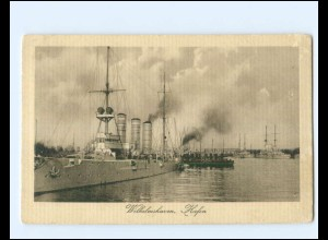 XX14332/ Wilhelmshaven Hafen Kriegsschiffe Marine + Schiffspost No.54 1915