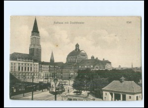 XX14338/ Kiel Rathaus Straßenbahn AK 1917