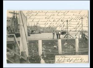 XX14340/ Kiel Hafen Jensenbrücke AK 1902