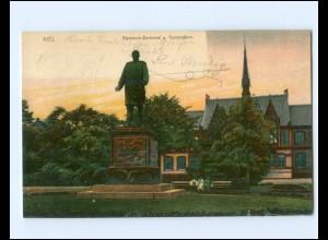 XX14280/ Kiel Bismarck-Denkmal u. Gymnasium AK 1906