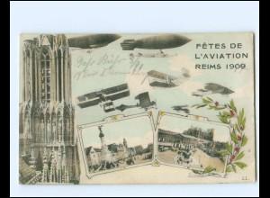 XX14288/ Reims 1909 Fetes de L`Aviation Flugzeuge Luftschiffe AK