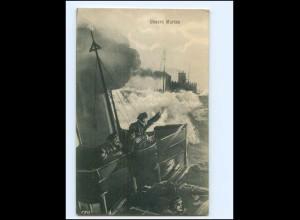 XX14427/ Unsere Marine Torpedoboot AK + Marine-Schiffspost 1914