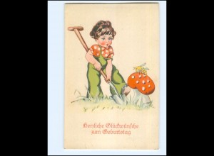 XX14426/ Geburtstag Kind Pilz Biene AK ca.1935