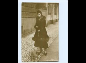 XX14653/ Maria Orska mit Hund Mops Russ-jüdische Schauspielerin Foto AK 1918