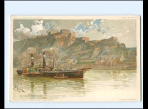XX14323/ Ehrenbreitstein F. Reiß Litho AK Dampfer ca.1900