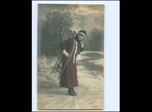 XX14251/ Weihnachten junge Frau mit Schlitten Foto AK ca.1910