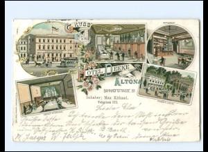 XX14232/ Gruß aus Hamburg Altona Hotel Deeke Litho AK 1898