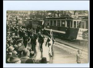 XX14173/ Detmold Umzug Straßenbahn Foto AK ca.1930