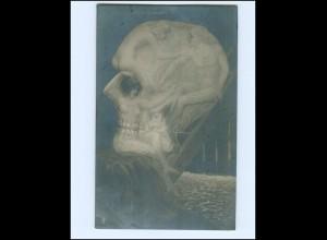 XX14197/ Totenkopf - Die geheimnisvolle Badezelle Foto Fotomontage AK 1909