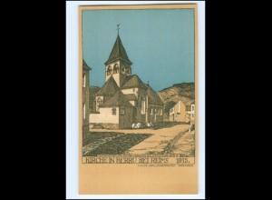 XX14562/ Kirche in Berru bei Reims 1915 Litho Künstler AK Julius Jahr