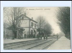 XX14556/ Masmes Bahnhof La Gare Frankreich 1. Weltkrieg 1914/15 AK