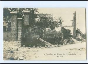 XX14552/ Souchez am Fuße der Lorettohöhe Frankreich 1. Weltkrieg Foto AK 1915