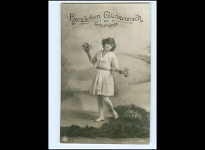 XX14569/ Geburtstag Mädchen mit Blumen NPG Foto AK ca.1912
