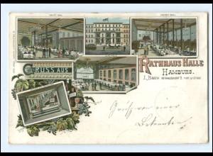 XX14625/ Gruß aus Hamburg Rathaus-Halle Litho AK ca.1900