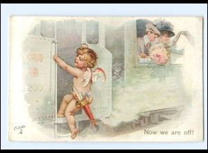"XX14600/ Tuck`s Postcard "" The Honeymoon"" Amor ca.1910"