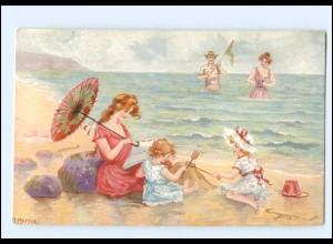 """XX14602/ Tuck`s Postcard AK """"Seefoarm"""" Mutter und Kinder am Strand Badeleben"""