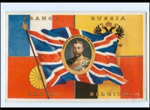 XX14605/ Tuck`s Postcard AK The Allied Flags - France, Russia, Japan, Belgium