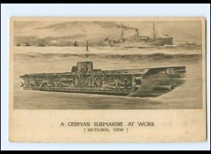 XX14655/ Tuck`s Postcard AK German Submarine at Work - U-Boot