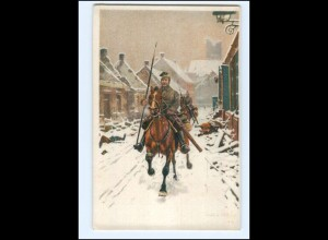 Y19980/ Patrouille Soldaten zu Pferde Litho AK 1. Weltkrieg 1915