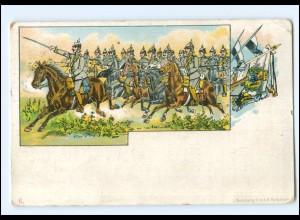 Y20090/ Kaiser Wilhelm zu Pferde Manöver Litho AK Militär