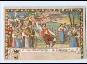 V1879/ Verlag des Vereines Südmark Nr. 125 Bauernhochzeit in Steiermark AK