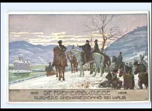 V1876/ Ostmark, Bund deutscher Österreicher Blücher bei Kaub, Freiheitskriege AK