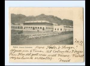 S2772/ ADEN French Consulate Jemen AK 1905 + Deutsche Seepost