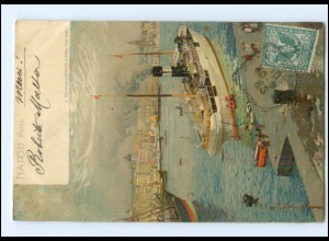 S2825/ Napoli Porto Hafen Dampfer Litho AK Italien