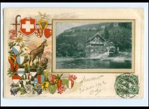 S2843/ Lac de Brenets Schweiz Wappen Litho Präge AK 1902