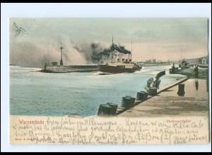 S2833/ Warnemünde Hafeneinfahrt Dampfer AK 1903