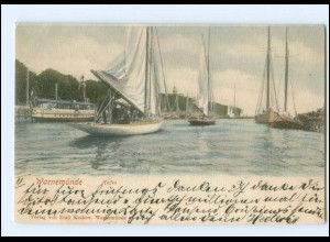 S2835/ Warnemünde Hafen Segelboote AK 1903