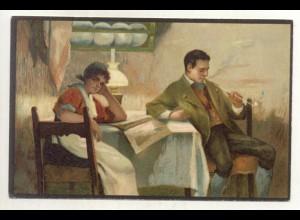 T1163/ Rauchen Mann raucht Pfeife schöne Litho Künstler AK ca.1900