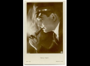 T1178/ Rauchen Schauspieler Harry Halm raucht Pfeife Ross Foto AK ca.1935