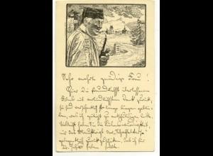 T1190/ Alter Mann raucht Pfeife Künstler AK ca.1912