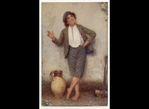 T1159/ Rauchen Junge raucht eine Zigarette Künstler AK J. Zinisek 1909