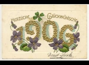 W5X12/ Neujahr Herzliche Glückwünsche 1906 Litho Prägedruck AK