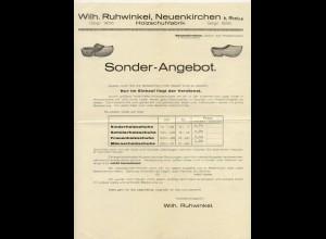 C2411/ W. Ruhwinkel Neuenkirchen b. Rhein Holzschuhfabrik Werbeblatt ca.1930