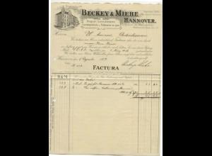 c488/ Rechnung Beckey & Miehe Hannover 1908