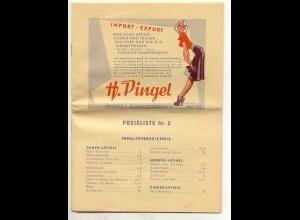 c170/ H. Pingel Hamburg Preisliste 1953 Kleidung Wäsche