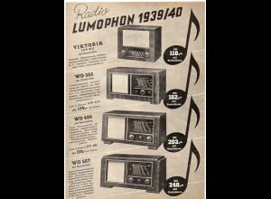 c759/ Radio Lumophon 1939/40 Werbeblatt
