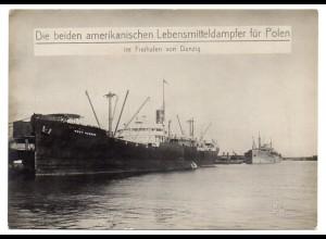 c735/ Danzig Hafen US Dampfer West. Humhaw bringt Lebensmittel Foto ca.1920