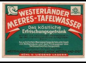 W8K28/ Westerländer Meeres-Tafelwasser altes Etikett Westerland Sylt