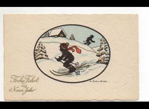Y9892/ Neujahr Sachse-Schubert AK Schattenbild Skifahren ca.1925