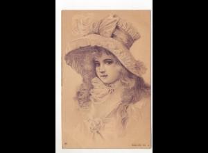 Y9893/ Mädchen mit Hut schöne Litho AK ca.1900