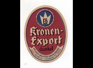 Y10151/ Altes Flaschenetikett Bier Kronen-Brauerei Leipzig-Connewitz