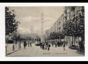 XX002002/ Santander Detalle del Boulevard Straßenbahn AK Spanien ca.1910