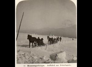 AK-0171/ Riesengebirge Auffahrt zur Peterbaude Stereofoto ~ 1900 Schlesien