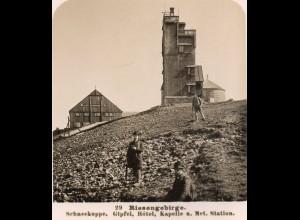 AK-0176/ Riesengebirge Schneekoppe Gipfel-Hotel Stereofoto ~ 1900 Schlesien