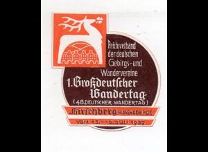S1919/ Reklamemarke Hirschberg Schlesien 1. Großdeutscher Wandertag 1939 Wandern